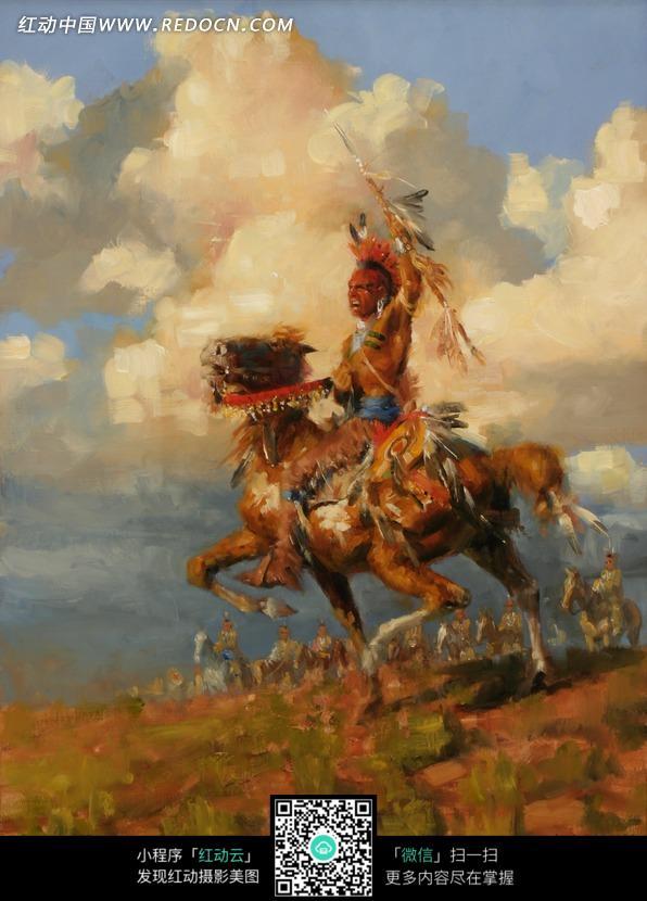 马拿着标枪的土著人油画图片 编号 1365779 书画文字 文化艺