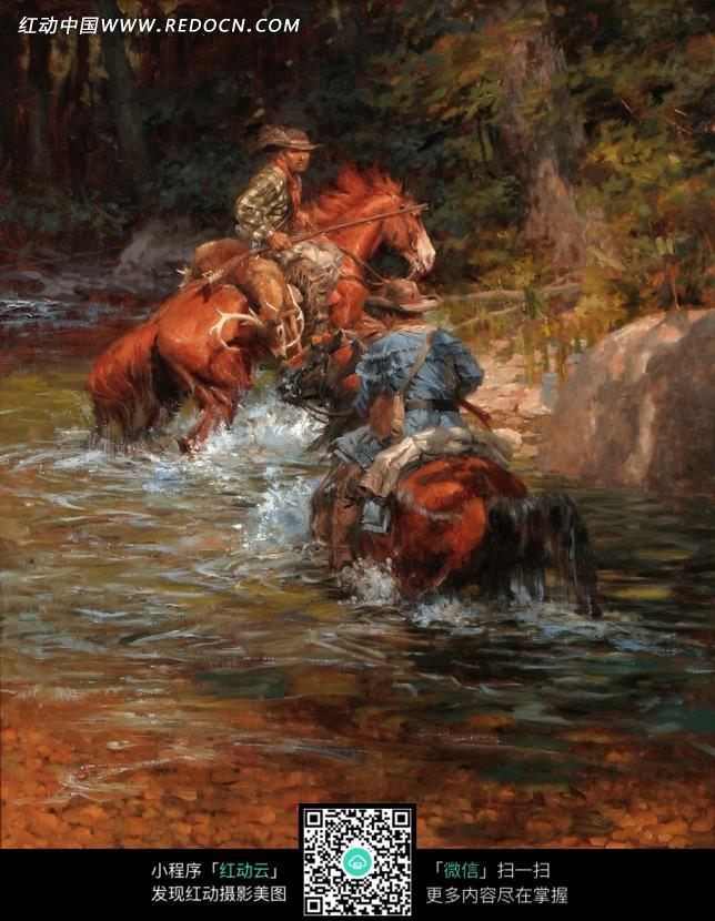 河水里骑马两个士兵油画图片 编号 1365683 书画文字 文化