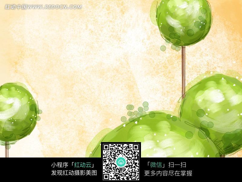 抽象油画绿色树球图片 传统书画 吉祥图案 艺术图片下载 ...