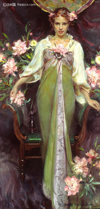 油画 装饰着鲜花的椅子前的西方女子图片 编号 1365877 书高清图片