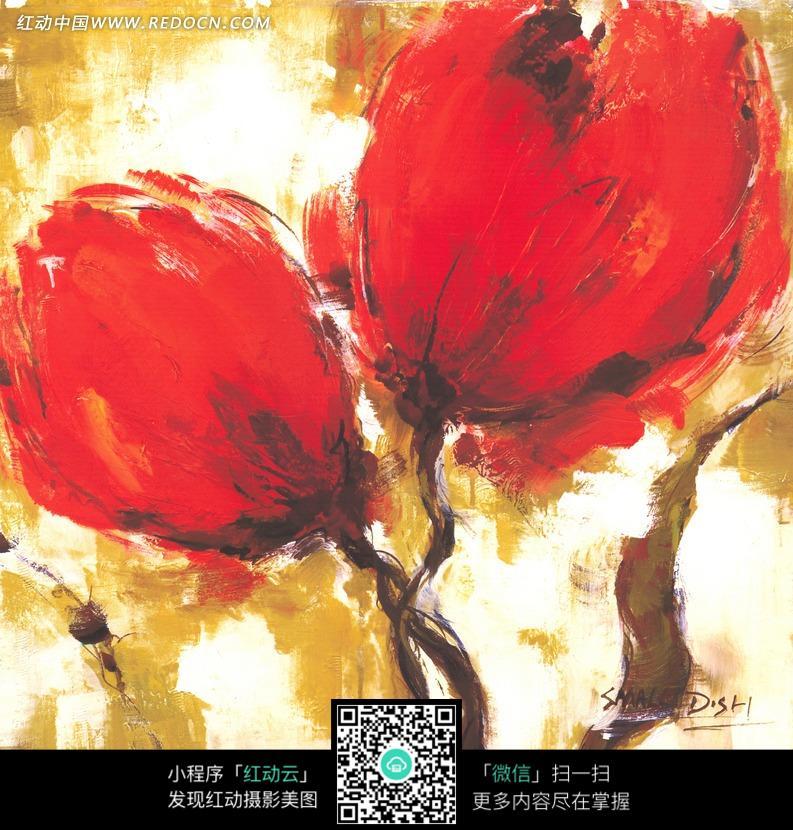 朵漂亮的大红花油画图片