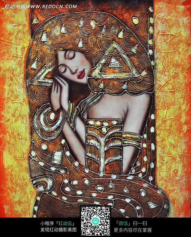 侧卧女性人物抽象画图片 传统书画 吉祥图案 艺术图片下载...