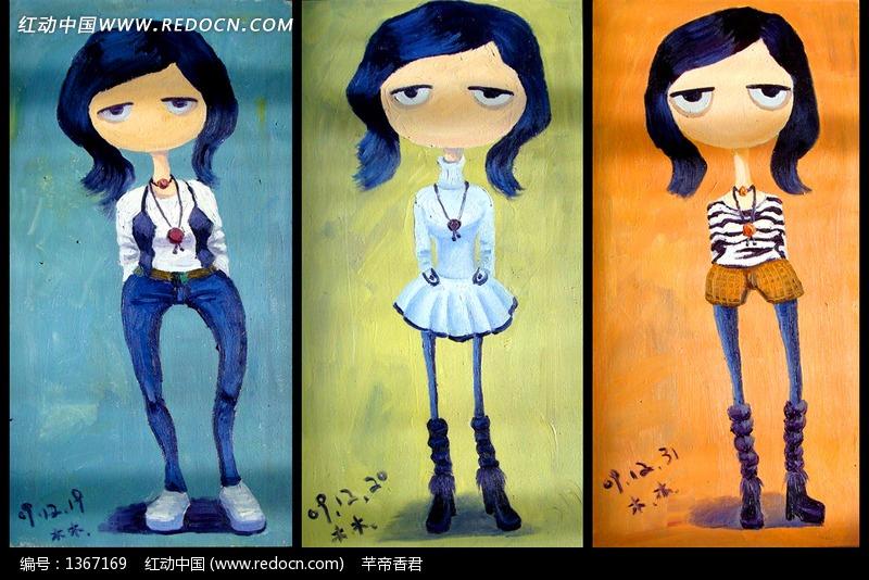 手绘抽象女孩插画图形设计图片