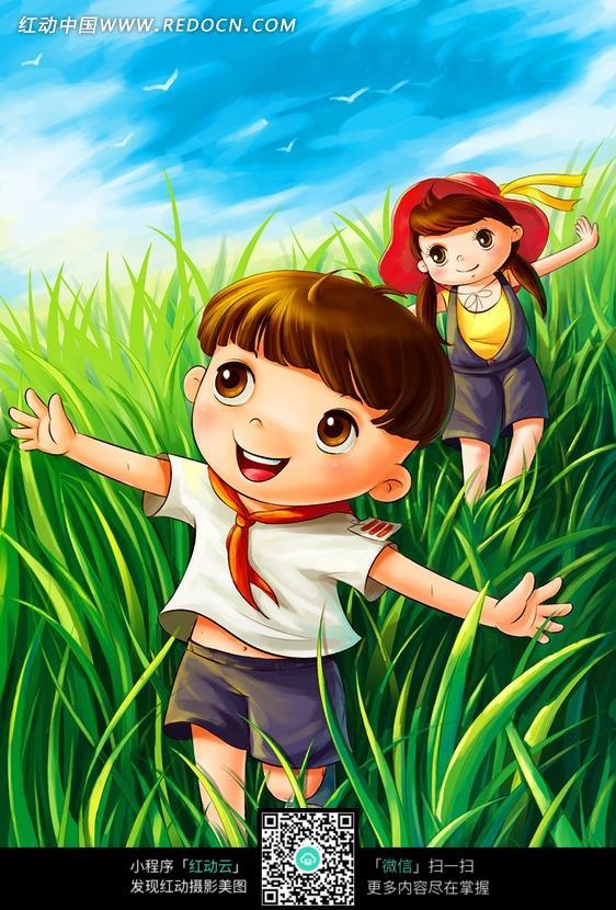草地上奔跑的男孩和女孩插画设计图片