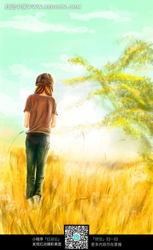 金色草地上的女孩插画设计图片