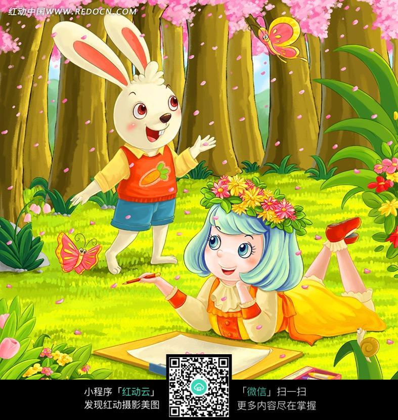 兔子艺术绘画图片_兔子凌风陶启全手绘画画艺术中性笔画动物…