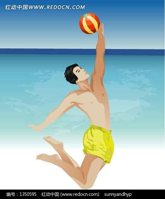 海边打 排球的卡通人 物 矢量男性 男人矢量图下 高清图片