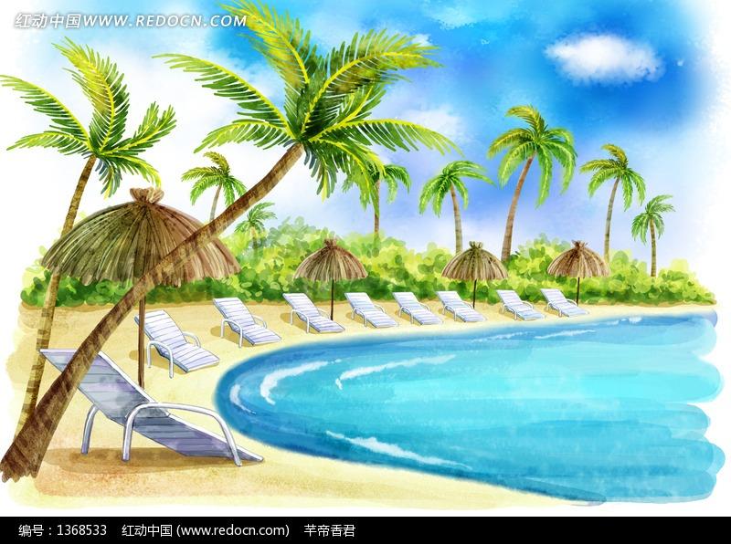 海边椰子树风景图片,海边椰子树简笔画,椰子树在海边的画,海边椰