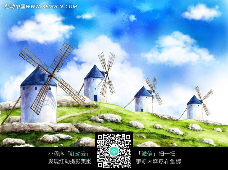 草地上的风车和石头插画设计图片