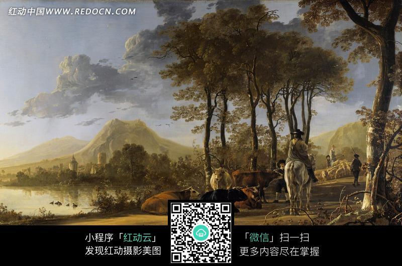 油画 郊外路上的牛和骑马的人图片 编号 1371139 书画文