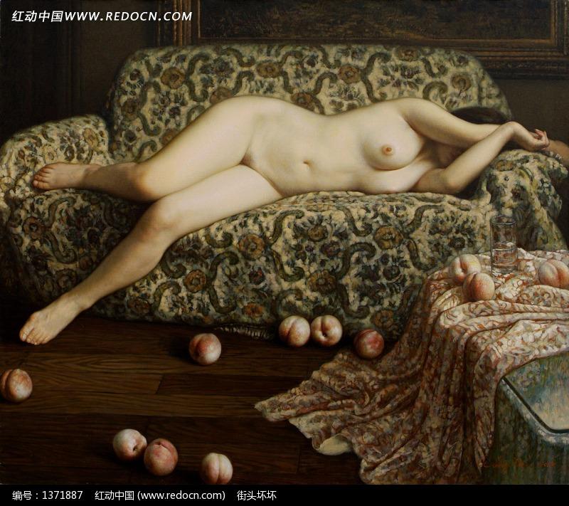 躺在沙发上的裸体女人油画图片编号:1371887