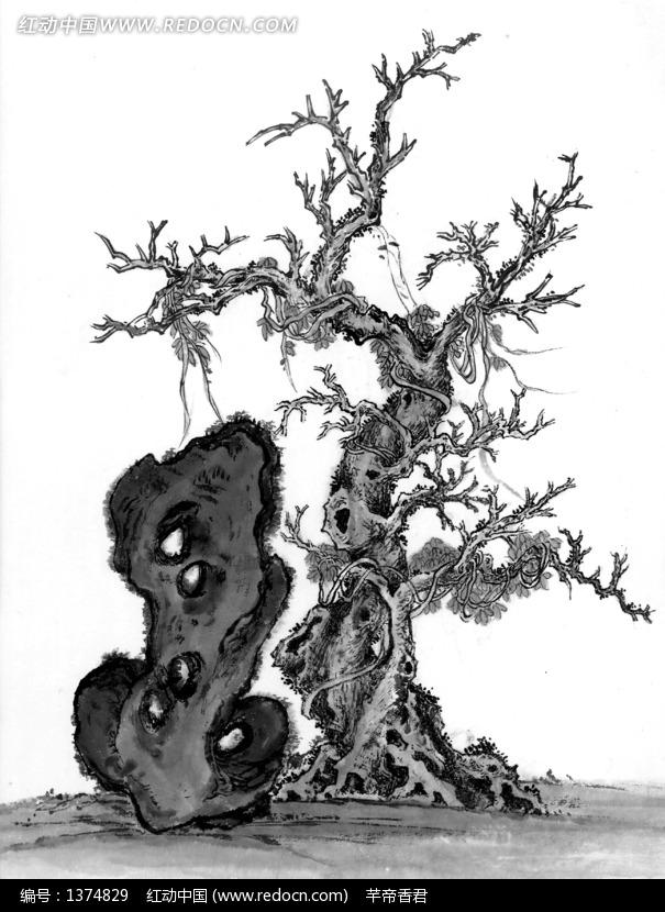 水墨画之古树旁有洞的石头图片 编号 1374829 书画文字 文
