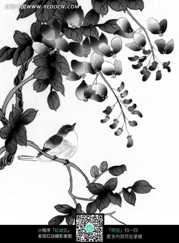 工笔画之站在树枝上的小鸟图片 编号 1374819 书画文字 文