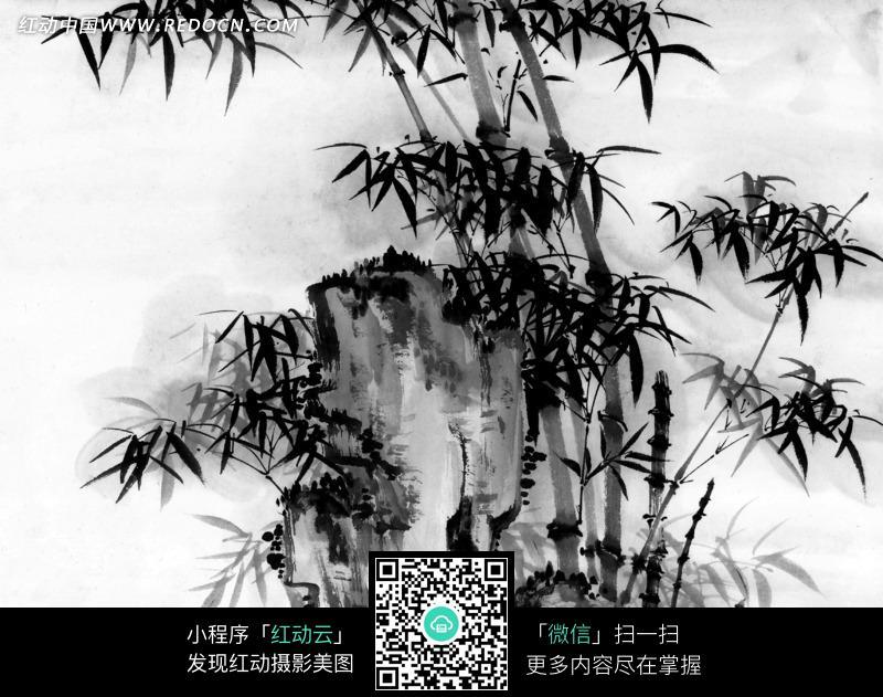 山中竹子水墨画