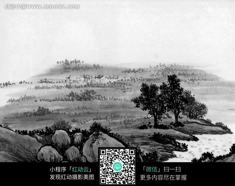 水墨画之小溪旁的树木和石头图片 编号 1375305 书画文字