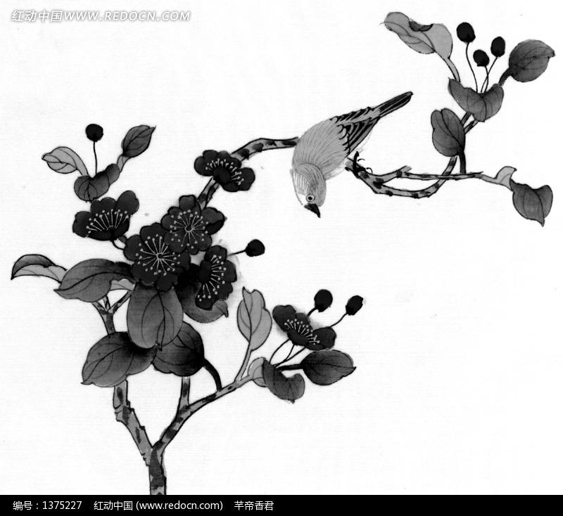 工笔画之梅花枝头的鸟图片 编号 1375227 书画文字 文化艺