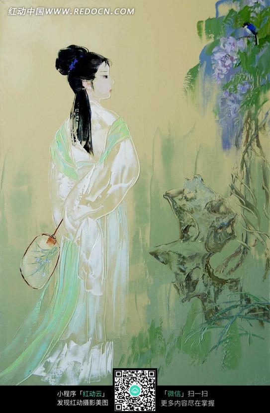 在树木旁边拿着扇子的古代美女油画图片 1372793 书画文字