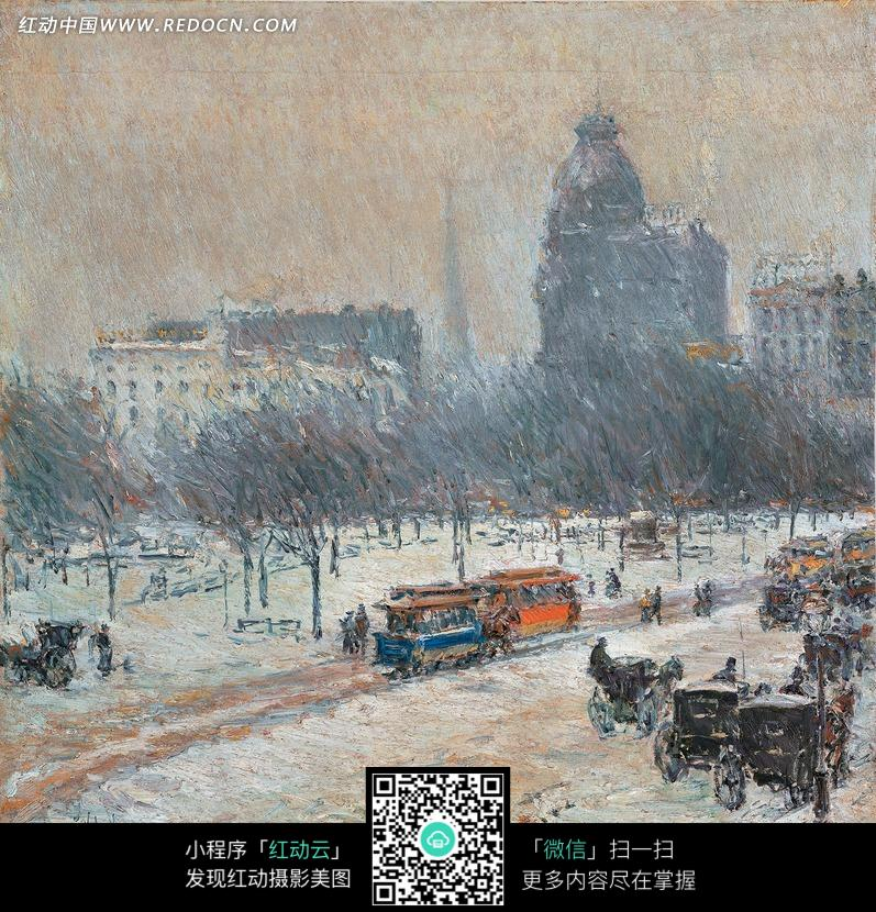 油画 雪地上的马车和高楼图片 编号 1373337 书画文字 文
