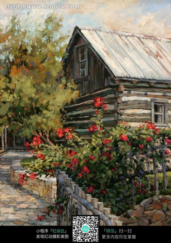 的树木和栅栏里的鲜花油画图片 编号 1373603 书画文字 文化