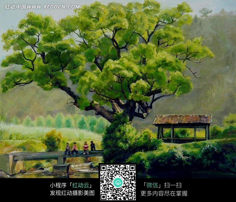 河流旁高大的树木和棚子油画图片 编号 1373921 书画文字