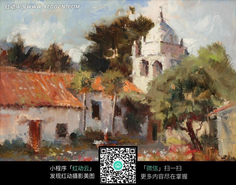 油画 欧式建筑旁的小屋和树木图片 1374919 书画文字