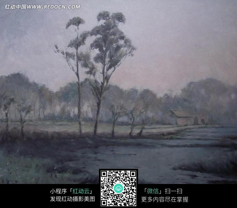 油画 灰暗的河流旁的小屋和树木图片 1374865 书画文字