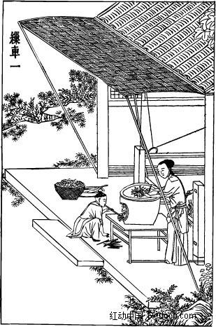 古代人物插画-房屋下的男子和女子矢量图(编号