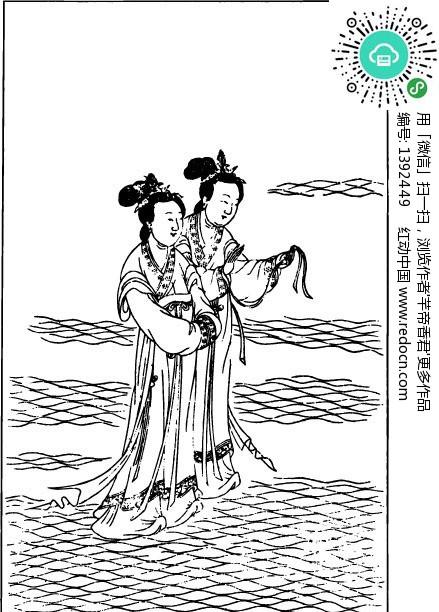 中国古代神话图谱_古代神话人物白描图谱 水波上的两个仙女设计图片