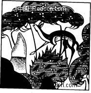 中国古典图案-树木下的鹿矢量图(编号:1395289)图片