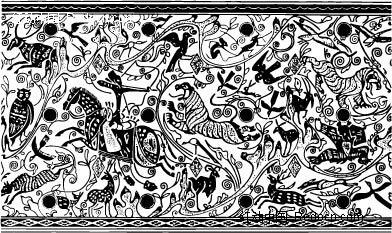 中国古典图案-奔马和鹿等动物构成的图案矢量图图片