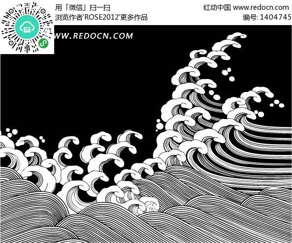 矢量图_海浪矢量图,海浪插画矢量图,手_小龙文挡网