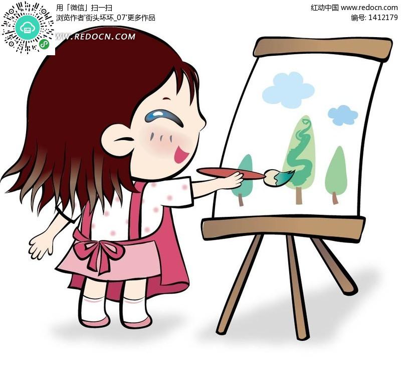 开心画画的小女孩矢量图 编号 1412179