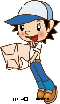戴着鸭舌帽和手套捧着纸箱的卡通小帅哥矢量素材矢量图 编号