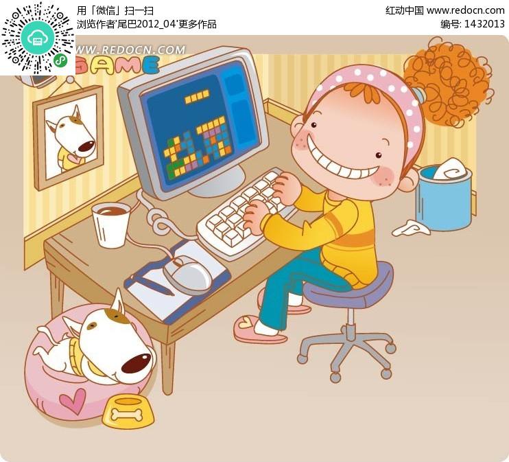 卡通玩游戏的女生 卡通人物矢量图下载编号:1