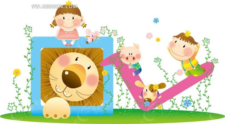 狮子和坐着的男孩女孩矢量图编号:1440133