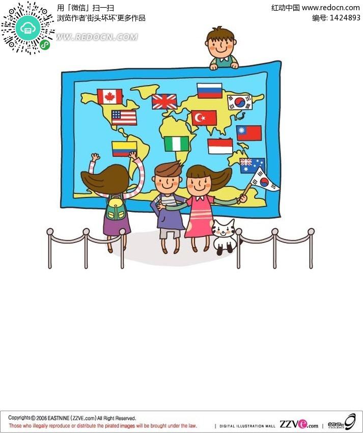 拿着世界地图和国旗的男孩女孩 卡通人物矢量图下载 编号 1424893