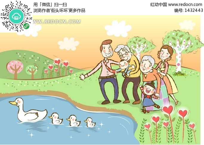 矢量图 1432443 卡通形象   简笔画游泳的小鸭子   小鸭子游泳儿童画