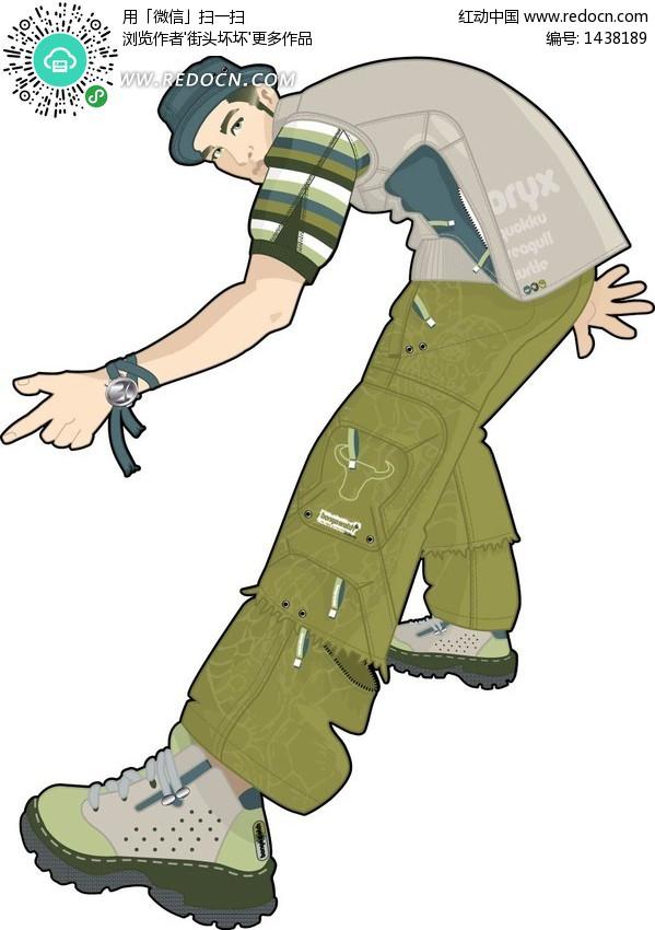 伸出前腿跳街舞的男性-卡通人物矢量图下载(编号:); 伸出前腿跳街舞的