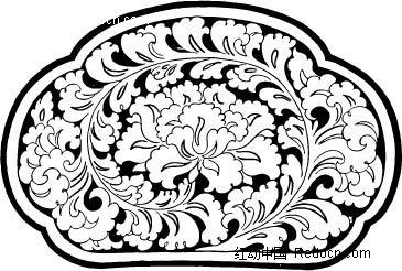 矢量带有花纹的古代陶瓷器皿-传统图案|纹样矢