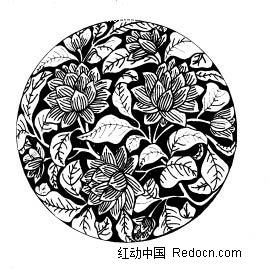 三角形物品 简笔画_圆形适合纹样图案 圆形花卉图案适合纹样 黑白适合纹样图