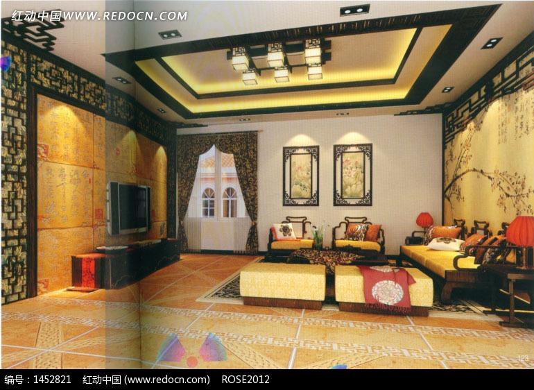 中式文化风格客厅3d效果图(编号:1452821)_室内设计图片