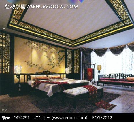 中式豪华高贵卧室3d效果图设计图片