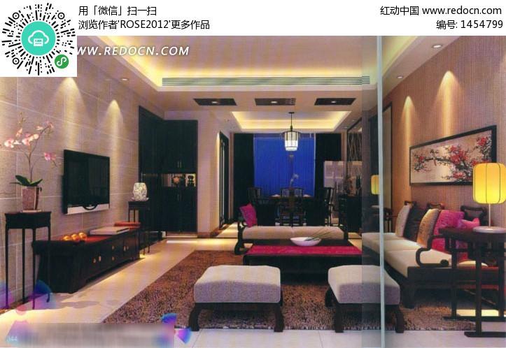 3d素材3d设计中式客厅3d效果图室内设计室内装修设计效果图整体风格图片