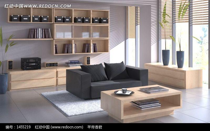 板式家具客厅一角3dmax模型 高清图片