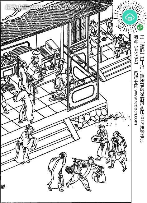 中国古代人物插画-房屋下的许多人物-书画矢量