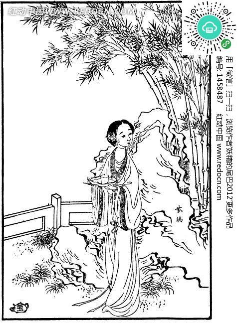 红楼梦人物古版画 紫鹃设计图片