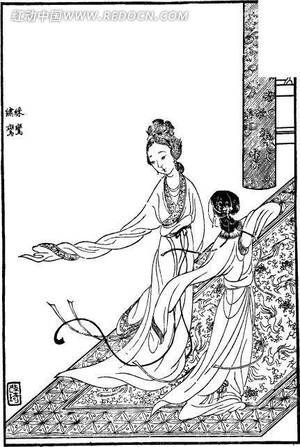 红楼梦人物古版画 彩鸾设计图片