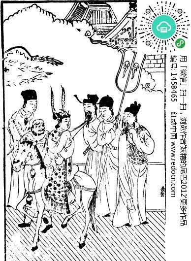 中国古代人物插画 骑马的女子和其它人物设计图片