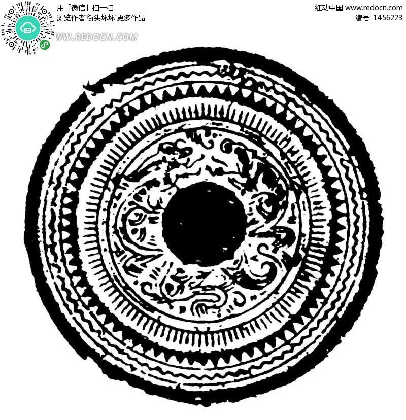中国古典图案 三角形和曲线构成的斑驳的圆形图案