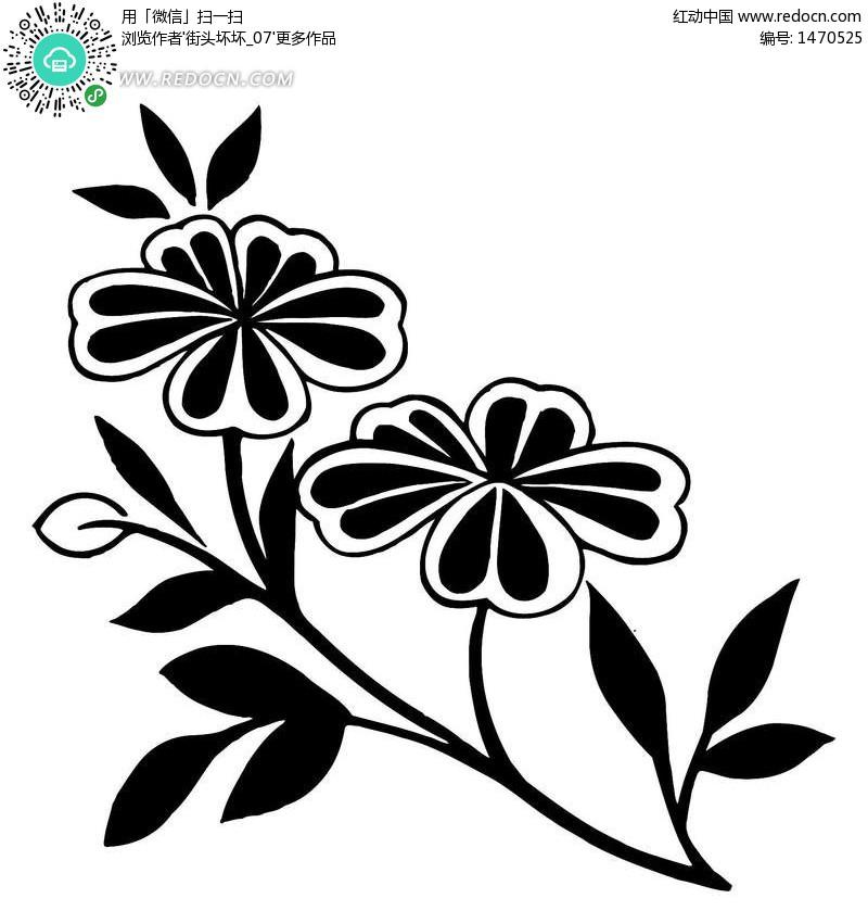 花卉适合纹样图案 图,黑白花卉适合纹样图案,花卉纹样设计,四方连续图片